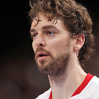 15 July 2012: Pau Gasol of Team Spain rests during a pre-Olympic exhibition game won 75-70 by Spain over France, at the Palais Omnisports de Paris Bercy, in Paris, France.
