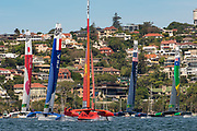 SailGP China Team lead around the first mark in race two on day two of competition. Event 1 Season 1 SailGP event in Sydney Harbour, Sydney, Australia. 16 February 2019. Photo: Chris Cameron for SailGP. Handout image supplied by SailGP