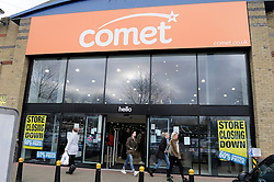 © Licensed to London News Pictures. 18/12/2012.Comets last day trading. Shoppers at the Comet store in Crayford,Kent looking for a bargain..Today (18.12.2012) is the last day trading for electrical retailer Comet. After going into administration the last 50 stores close today.Photo credit : Grant Falvey/LNP