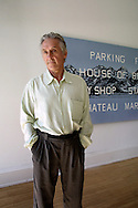 American artist Ed Ruscha in front of his painting entitled 'Parking Picture', part of his exhibition 'The Mountains' which is showing at the Inverleith House in the Royal Botanical Gardens in Edinburgh.