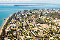 Aerial view of Hervey Bay with Fraser Island in the background, Queensland, Australia