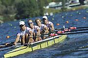 Hamilton, NEW ZEALAND.  USA W4X, Bow. Margot SHUMWAY, Sarah TROWBRIDGE, Megan KALMOE and Natalie DELL. 2010 World Rowing Championship on Lake Karapiro Monday 01.11.2010. [Mandatory Credit Peter Spurrier:Intersport Images].