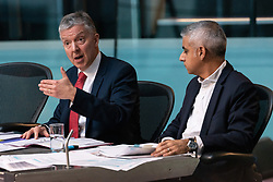 © Licensed to London News Pictures. 21/12/2018. London, UK. Mike Brown MVO, TfL Commissioner. and London Mayor Sadiq Khan appears before the London Assembly to answer questions when they knew of the Crossrail launch delay. Photo credit: Ray Tang/LNP
