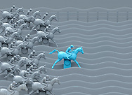 Blue leading horse standing out from pack in Carnival Horse Racing Game