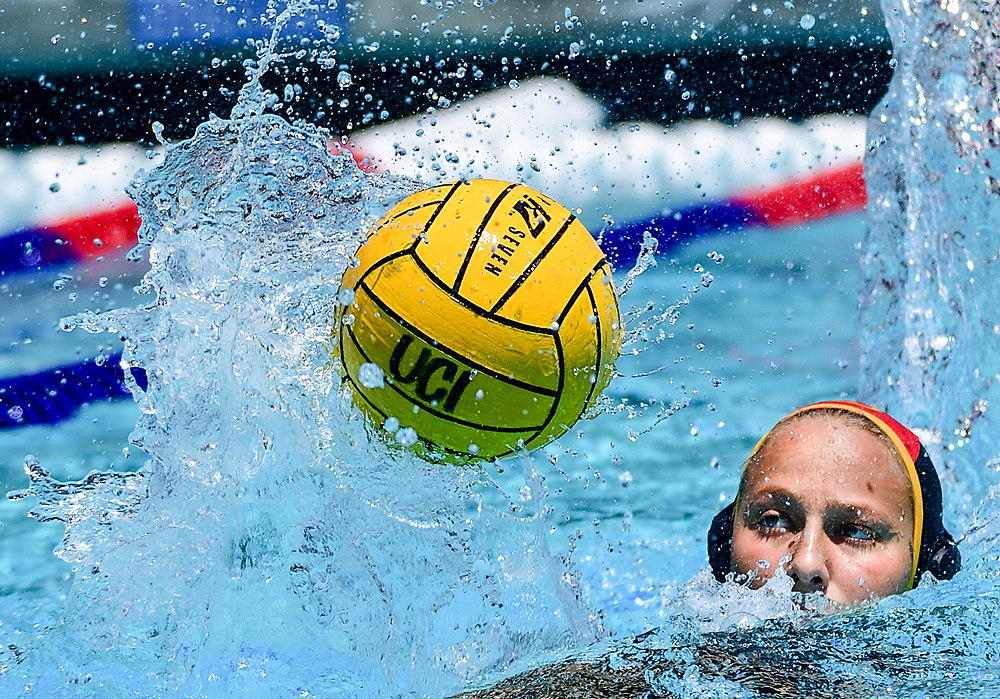 4/27/18 --- CSULB goaltender Eirini Patras keeps her eye on the ball during first round action against UCSB in the 2018 Big West Conference Women's Water Polo Tournament, UC Irvine Aquatics Center, Irvine, CA<br /> <br /> Photo by Michel Lim / Sports Shooter Academy