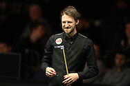 Judd Trump in action during his match against Rory McLeod.  Betvictor Welsh Open snooker 2016, day 2 at the Motorpoint Arena in Cardiff, South Wales on Tuesday 16th Feb 2016.  <br /> pic by Andrew Orchard, Andrew Orchard sports photography.<br /> contact and payments to Andrew Orchard, 2 Old Vicarage close, Pengam, Blackwood, Gwent. NP12 3TU. Tel 07974 069129.  vat reg no 615 9784 04,  <br /> no unpaid use, All usage chargeable.