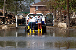 01Oct, 2005.  New Orleans, Louisiana. Hurricane Katrina aftermath. <br /> Contractors for the Environmental Protection Agency (EPA) check for toxins and pollutants in the flood ravaged lower 9th ward. <br /> Photo; ©Charlie Varley/varleypix.com