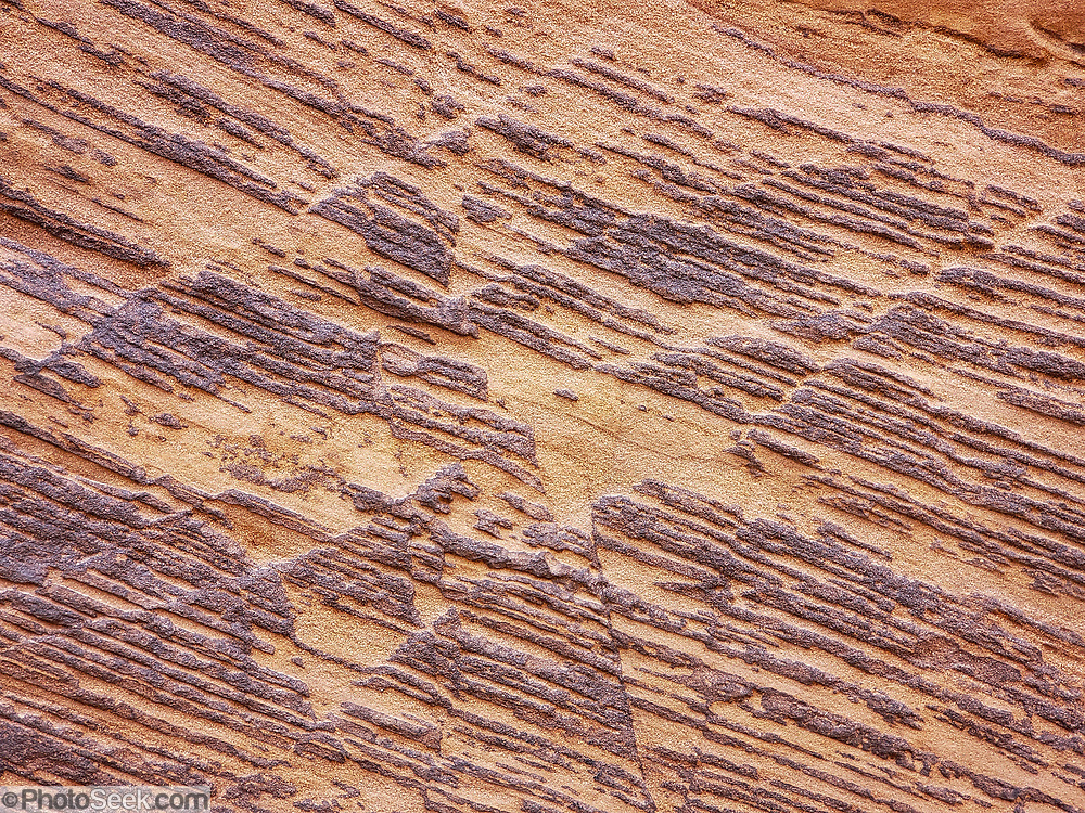 Sandstone patterns along trail to Zebra Slot Canyon, Grand Staircase-Escalante National Monument, Utah, USA. From Hole-in-the-Rock Road, hike east on a well-trodden but unmarked path, 5 miles round trip with 450 feet total gain to Zebra Slot.