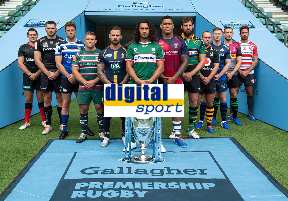 Football - 2019 / 2020 Gallagher Premiership Rugby - New Season Launch Media Photocall<br /> <br /> (From l to r), Saracens' Alex Goode, Exeter Chiefs' Don Armand, Bath Rugby's Rhys Priestland, Leicester Tigers' Tom Youngs, Worcester Warriors' Francois Hougaard, London Irish' Blair Cowan, Bristol Rugby's Nathan Hughes, Northampton Saints' Tom Wood, Wasps' Dan Robson, Sale Sharks' Chris Ashton, Harlequins' Mike Brown, Gloucester Rugby's Danny Cipriani, at Twickenham.<br /> <br /> COLORSPORT/ASHLEY WESTERN