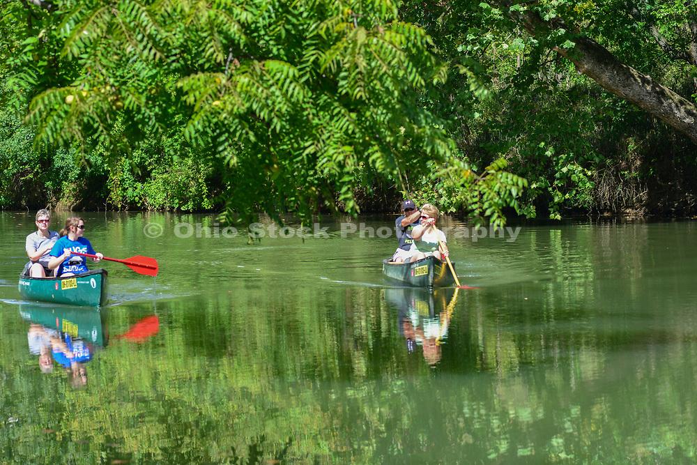 Canoes on the Hocking River, near Logan, Ohio.