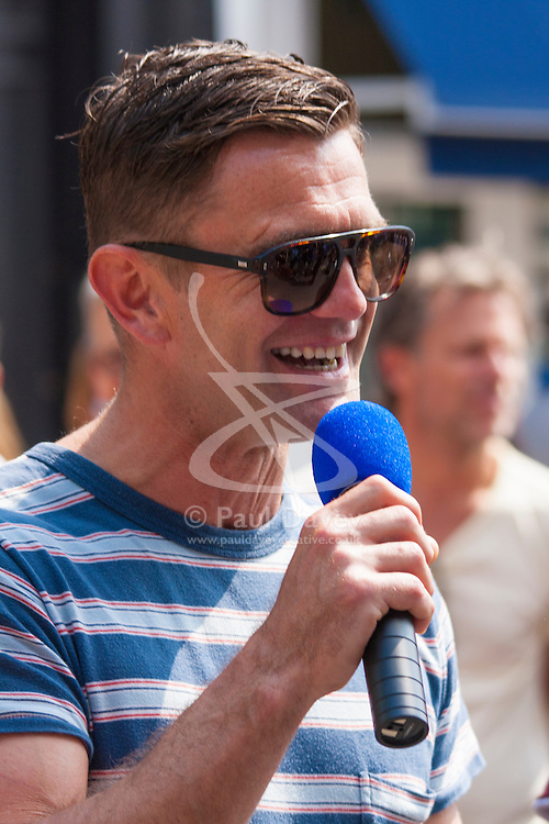 Primrose Hill, London, May 18th 2014. Celebrity Jack Maslen who plays Jack Branning in Eastenders was the celebrity judge at the Primrose Hill Fair and dog show which saw dozens of pet lovers brining their dogs down for an afternoon's fun in the hot sun.