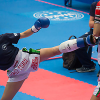 Gold medalist Gabriella Busa (R) of Hungary and silver medalist Kristina Nikolova (L) of Bulgaria fight in the 3KL 039S F -50 kg final at the WAKO (World Association of Kickboxing Organizations) World Kick-boxing Championships in Budapest, Hungary on Nov. 10, 2017. ATTILA VOLGYI