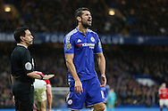 Chelsea's Diego Costa vents his anger during the Barclays Premier League match between Chelsea and Manchester United at Stamford Bridge, London, England on 7 February 2016. Photo by Phil Duncan.