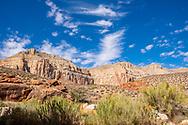 Landscape along the Havasu Falls Trail in Supai, Arizona.