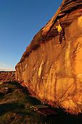 Pete Robins climbing The Poseidon Adventure, E5, Bowden Doors, Northumberland