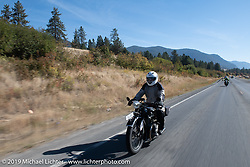 Brent Hansen riding his 1926 BMW R42 in the Motorcycle Cannonball coast to coast vintage run. Stage 13 (254 miles) Kalispell, MT to Spokane, WA. Friday September 21, 2018. Photography ©2018 Michael Lichter.