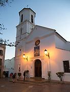 Historic Church of El Salvador building at night, Nerja, Malaga province, Spain