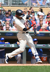 May 2, 2018 - Minneapolis, MN, U.S. - MINNEAPOLIS, MN - MAY 02: Minnesota Twins Infield Gregorio Petit (40) hits a single during a MLB game between the Minnesota Twins and Toronto Blue Jays on May 2, 2018 at Target Field in Minneapolis, MN.The Twins defeated the Blue Jays 4-0.(Photo by Nick Wosika/Icon Sportswire) (Credit Image: © Nick Wosika/Icon SMI via ZUMA Press)
