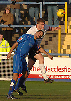 Photo: Paul Greenwood.<br />Macclesfield Town v Hereford United. Coca Cola League 2. 20/01/2007. Hereford's Phil Gulliver beats Danny Swailes in the air