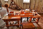 USA, Oregon, Thompson's Mills State Heritage Site, Interior Display, Grist Mill display, demonstraton table