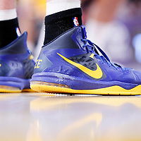 11 April 2014: Close view of Golden State Warriors forward David Lee (10) shoes during the Golden State Warriors 112-95 victory over the Los Angeles Lakers at the Staples Center, Los Angeles, California, USA.