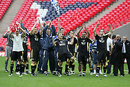 FA Cup sponsored by E.On, semi final, Cardiff City v Barnsley at Wembley Stadium, North London on 6th April 2008. The Cardiff City players celebrate their 1-0 victory