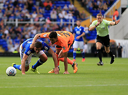 Tiago Ilori of Reading wrestles Lukas Jutkiewicz of Birmingham City to the ground - Mandatory by-line: Paul Roberts/JMP - 26/08/2017 - FOOTBALL - St Andrew's Stadium - Birmingham, England - Birmingham City v Reading - Sky Bet Championship