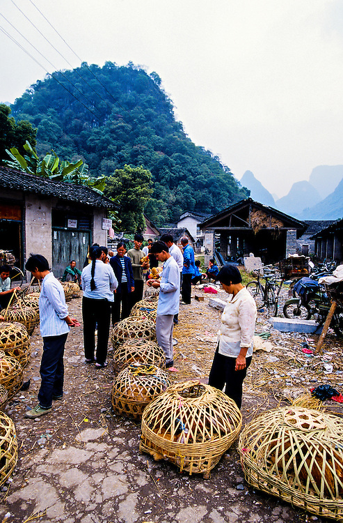 Market day in Xingping Village (on the Li River) near Yangshuo, southern China