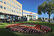 Great-West Life Assurance Co. (Head Office) with flower gardens<br /> Winnipeg<br /> Manitoba<br /> Canada