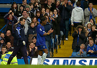 Photo: Alan Crowhurst.<br />Chelsea v Manchester City. The Barclays Premiership. 25/03/2006. Didier Drogba is applauded by Chelsea Fans.