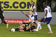 Marine midfieler Josh Hmami (8) makes a tackle during the The FA Cup match between Marine and Tottenham Hotspur at Marine Travel Arena, Great Crosby, United Kingdom on 10 January 2021.