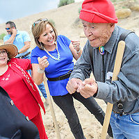 010113  Adron Gardner/Independent<br /> <br /> City councilor Linda Garcia, left, and Gov. Susanna Martinez, enjoy a laugh with Sen. John Pinto after a groundbreaking for an improved Allison Crossing interchange in Gallup Tuesday.