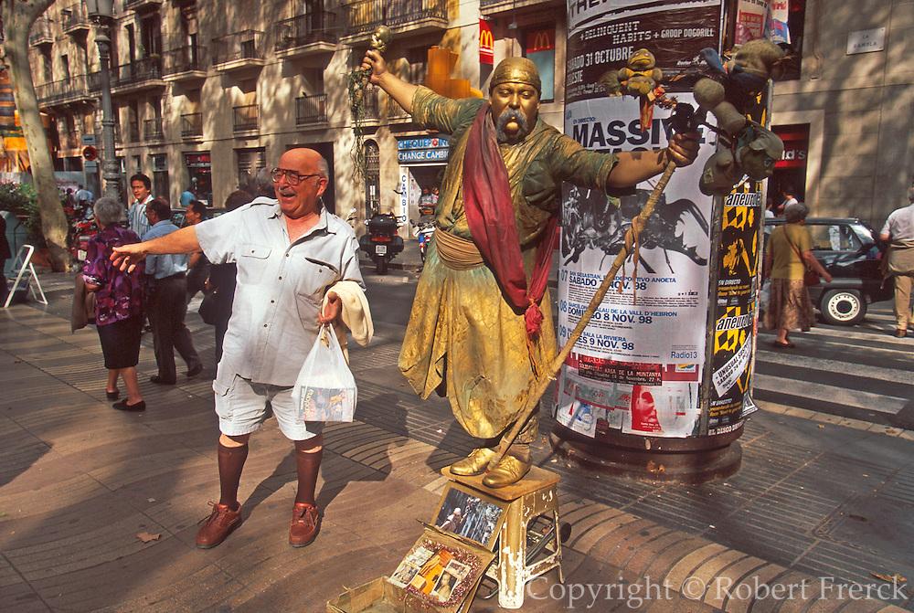 SPAIN, BARCELONA Las Ramblas, street entertainers