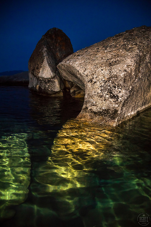 """""""Tahoe Boulders at Night 1"""" - Photograph of boulders near Stateline Point at Crystal Bay, Lake Tahoe. Shot from a kayak, just before sunrise."""