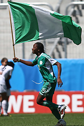 25.07.2010,  Augsburg, GER, FIFA U20 Womens Worldcup, , Viertelfinale, USA vs Nigeria,  im Bild Uchechi SUNDAY (Nigeria #19) feiert mit Fahne, EXPA Pictures © 2010, PhotoCredit: EXPA/ nph/ . Straubmeier+++++ ATTENTION - OUT OF GER +++++ / SPORTIDA PHOTO AGENCY