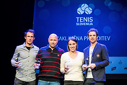 Grega Zemlja, Andrej Krasevec, Andreja Klepac and Blaz Kavcic at Slovenian Tennis personality of the year 2016 annual awards presented by Slovene Tennis Association Tenis Slovenija, on December 7, 2016 in Siti Teater, Ljubljana, Slovenia. Photo by Vid Ponikvar / Sportida