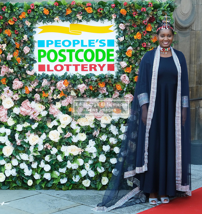 George Clooney and his wife Amal, representing the Clooney Foundation for Justice, arrive to collect an award for their charity work at the People's Postcode Lottery Charity Gala in Edinburgh <br /> <br /> Pictured: Nice Nailantei Leng'ete<br /> <br /> (c) Aimee Todd | Edinburgh Elite media