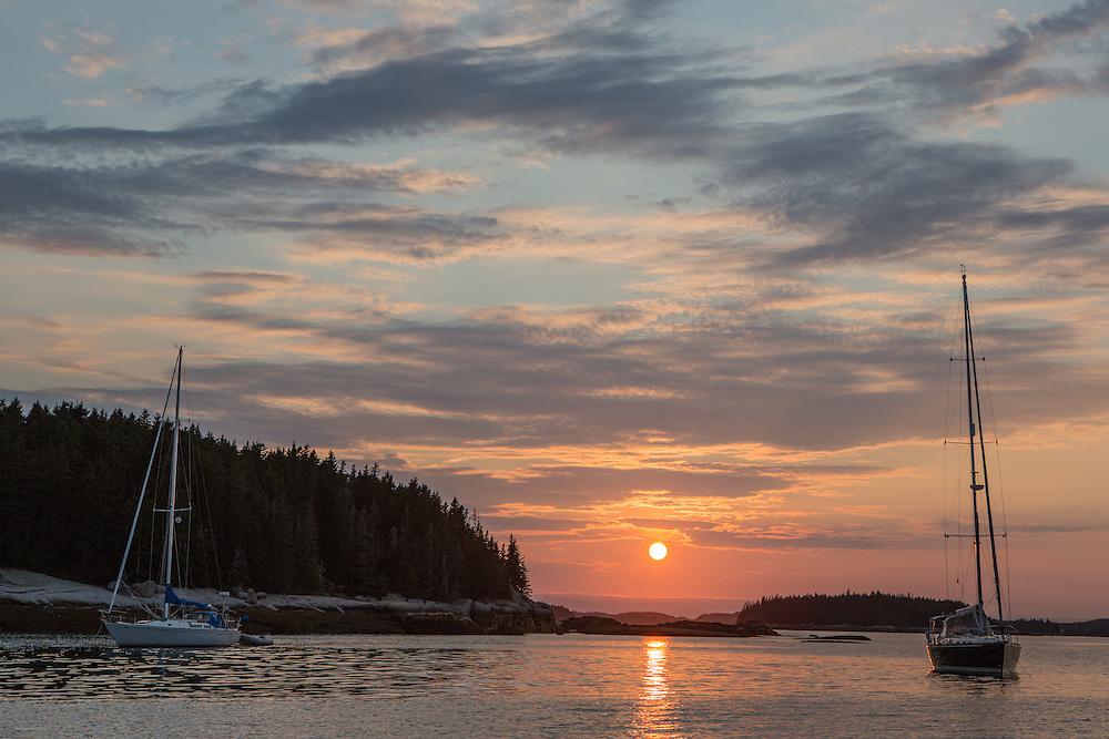 McGlathery Island, ME - 11 August 2014. Sunset