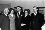 07/05/1965<br /> 05/07/1965<br /> 07 May 1965<br /> Midwives Boards Meeting in Dublin. Mr Donagh O'Malley, Minister for Health met the Mid-wives Boards of England, Scotland, Northern Ireland and Ireland at their joint meeting at the Shelbourne Hotel, Dublin. Picture shows Mr O'Malley (centre) chatting with the representatives of the Northern Ireland Midwives Council attending the meeting. Left - right are: Prof. MacAfee,  Q.U.B.; Miss R.C. Perks, matron, Royal Maternity Hospital Belfast; Mr O'Malley; Miss M.E. Morrison, Registar, Joint Nursing and Midwives Council, Northern Ireland and Mr. R.A. Magee, Chairman, Joint Nursing and Midwives Council Northern Ireland.