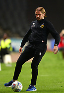 Robbie Neilson, the Scottish manager of Milton Keynes Dons kicks the ball on the touchline .EFL Skybet football league one match, MK Dons v Northampton Town at the Stadium MK in Milton Keynes on Tuesday 26th September 2017.<br /> pic by Bradley Collyer, Andrew Orchard sports photography.