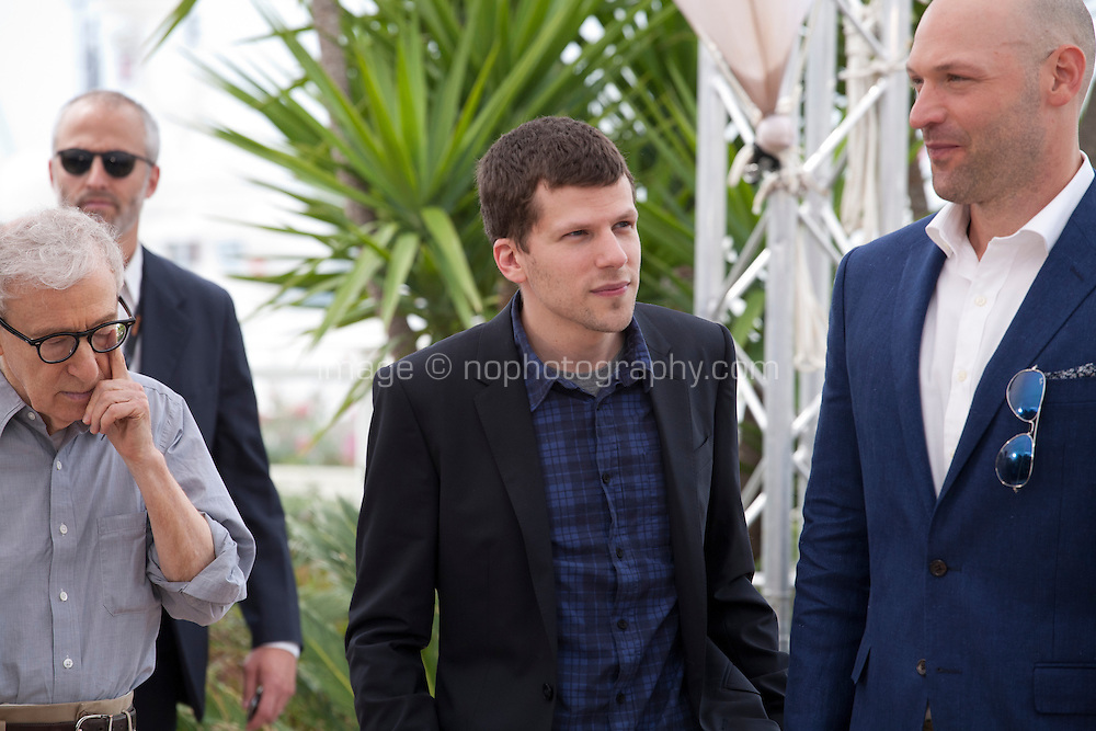 Director Woody Allen, Actor Jesse Eisenberg and Actor Corey Stoll<br /> at the Café Society film photo call at the 69th Cannes Film Festival Wednesday 11th May 2016, Cannes, France. Photography: Doreen Kennedy