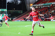 GOAL 3-0. Charlton Athletic midfielder Jonathan Williams (7) after scoring a goal during the EFL Sky Bet League 1 match between Charlton Athletic and AFC Wimbledon at The Valley, London, England on 12 December 2020.