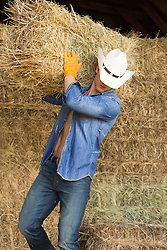 All American Cowboy working in a barn filled with hay