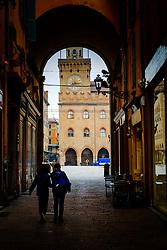 Looking towards the Palazzo d'Accursio in the Piazza Maggiore, Bologna, Italy<br /> <br /> (c) Andrew Wilson | Edinburgh Elite media