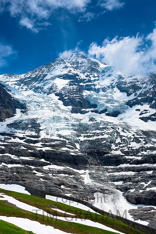 The Eiger Glacier, Eigergletscher, and Monch mountain in the Swiss Alps, Switzerland