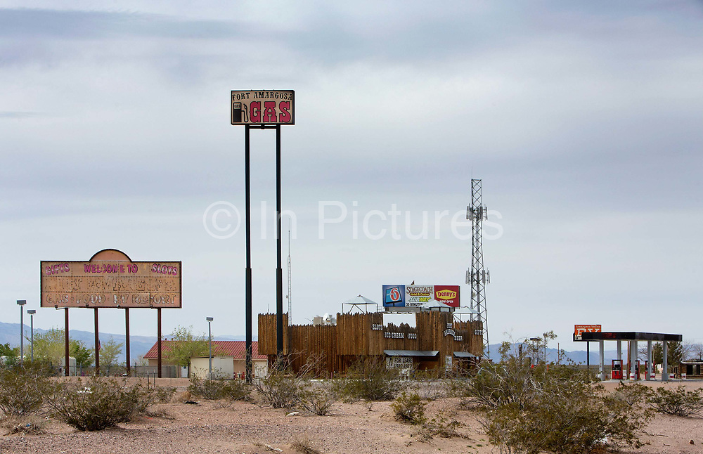 Empty, half derelict Fort Amigosa gas station, Amagosa Valley route 95