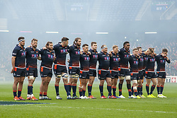 March 30, 2019 - Edinburgh, Scotland, United Kingdom - The Edinburgh Rugby team pictured during a minutes of silence during the Heineken Champions Cup Quarter Final match between Edinburgh Rugby and Munster Rugby at Murrayfield Stadium in Edinburgh, Scotland, United Kingdom on March 30, 2019  (Credit Image: © Andrew Surma/NurPhoto via ZUMA Press)