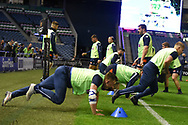 Warm up for Edinburgh players before the Guinness Pro 14 2018_19 match between Edinburgh Rugby and Toyota Cheetahs at BT Murrayfield Stadium, Edinburgh, Scotland on 5 October 2018.