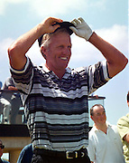 Greg Norman  looks down the 1st tee at Ballybunion in Co. Kerry yesterday on what was the hottest day of the year in Ireland..©Picture by Don MacMonagle.6 Port Road, Killarney Co. Kerry, Ireland.Tel: 00-353+64+32833