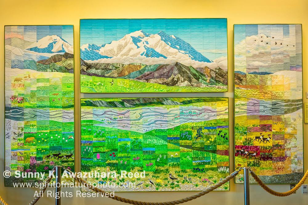 Large quilts of Mount Denali (McKinley) by Ree Nancarrow in the Eielson Visitor Center, Denali National Park & Preserve, Interior Alaska.